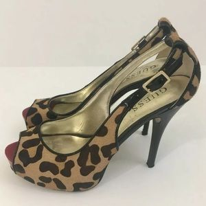 GUESS Leopard Cheetah Pumps Peep Open Toe